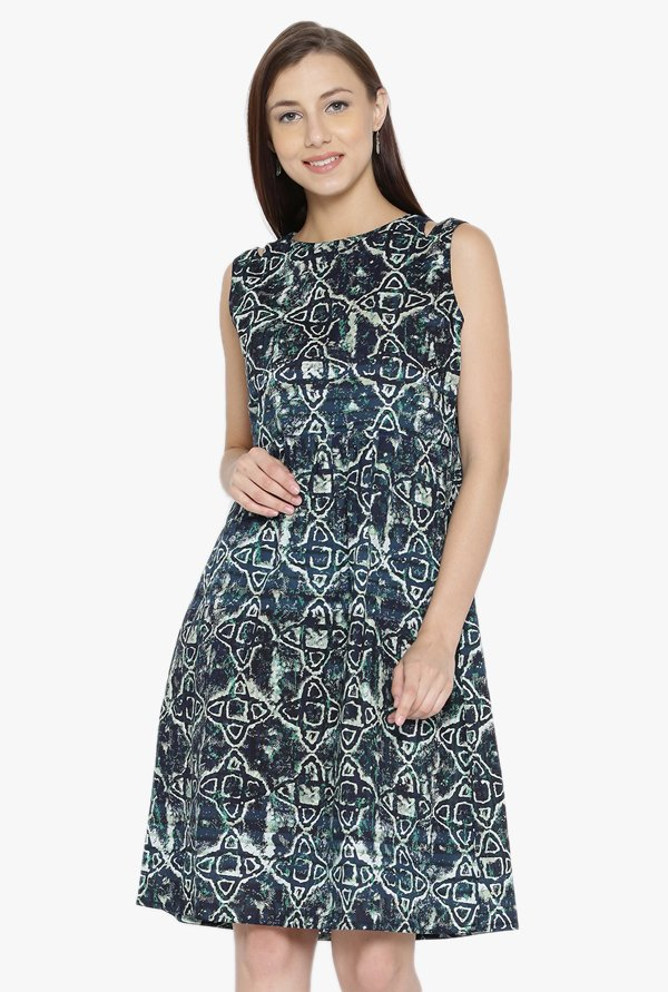 Desi Fusion Navy Printed Cotton A-Line Dress