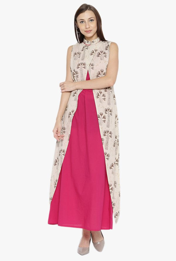 Desi Fusion Beige & Pink Floral Print Cotton Maxi Dress