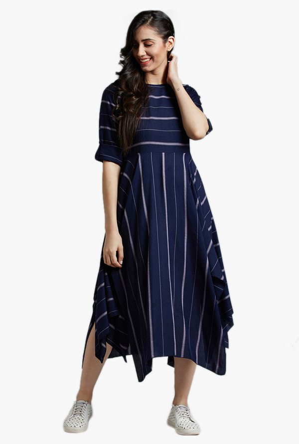 Desi Fusion Blue Striped Cotton Dress