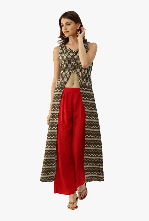 Desi Fusion Olive & Red Printed Cotton Kurta with Palazzo