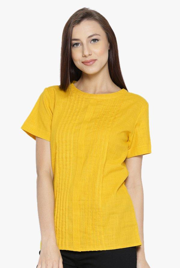 Jaipur Kurti Yellow Textured Cotton Top