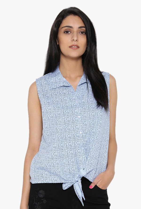 Desi Fusion Light Blue Printed Cotton Top