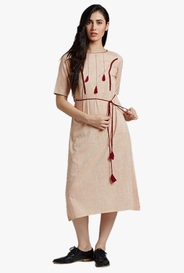 Desi Fusion Peach Textured Cotton Dress
