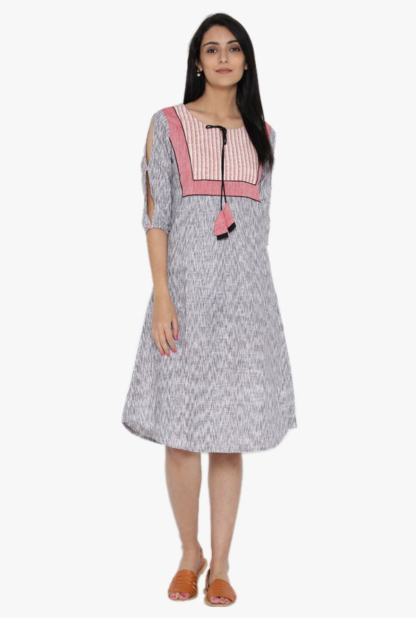 Desi Fusion Grey Printed Cotton Dress