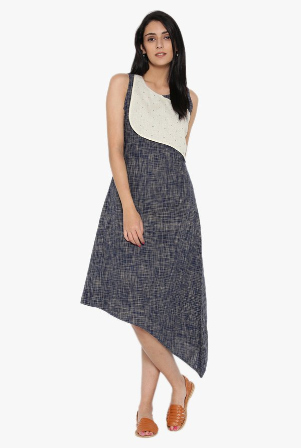 Desi Fusion Blue & White Printed Cotton Dress