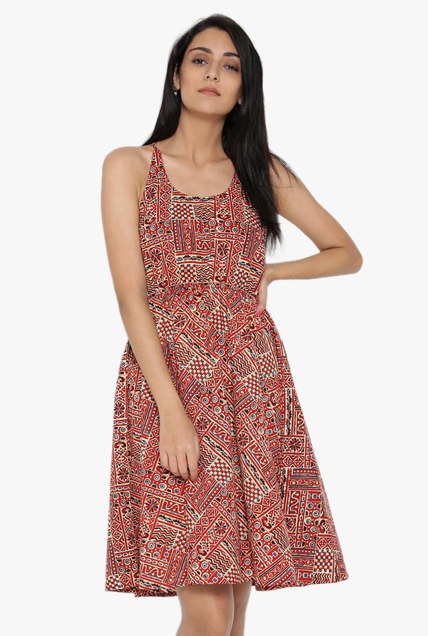 Desi Fusion Red Printed Cotton Dress