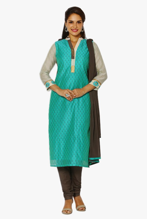 Soch Green & Grey Printed Chanderi Straight Suit Set