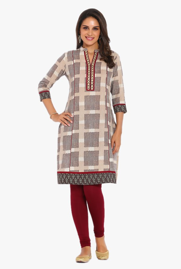 Soch Beige Printed Cotton Kurta