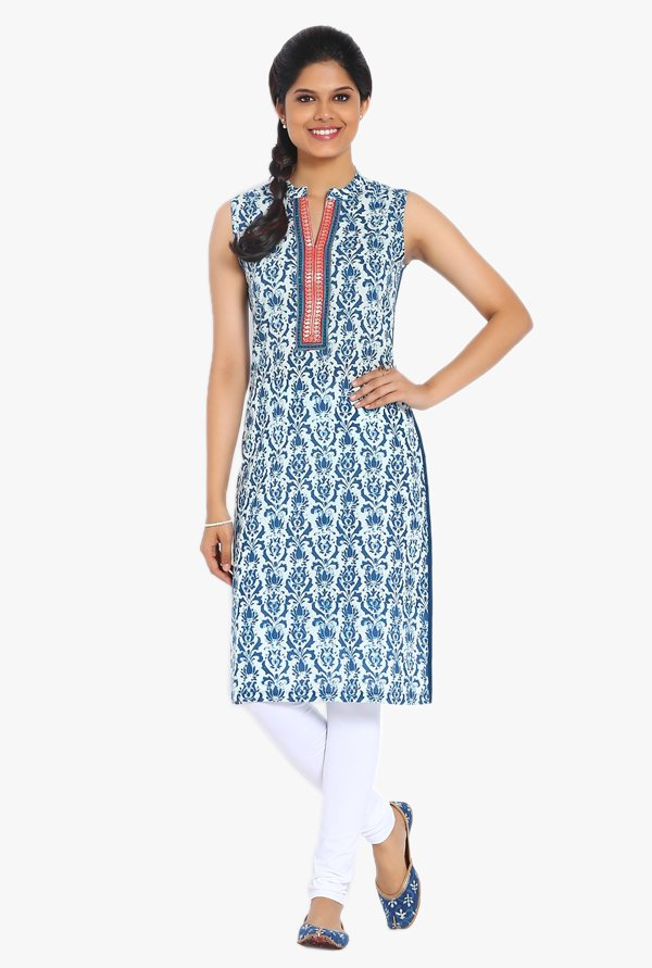 Soch Indigo Printed Cotton Kurta