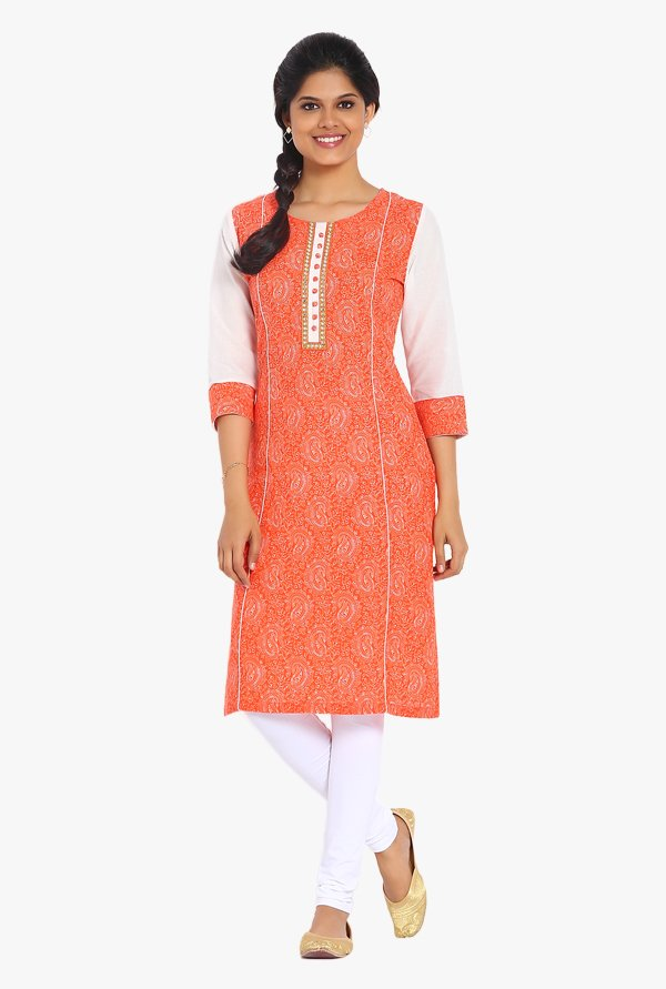 Soch Orange Paisley Print Cotton Kurta