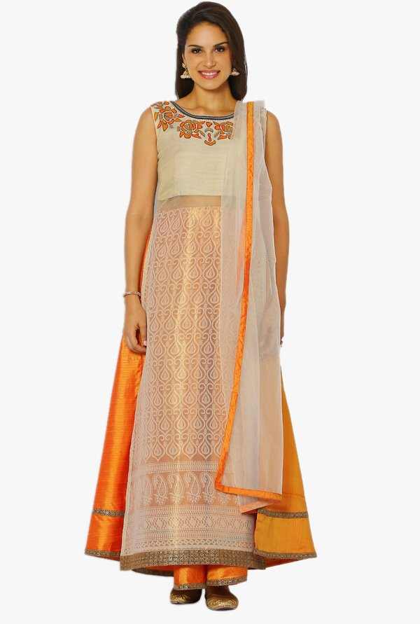 Soch Beige & Yellow Printed Silk A Line Suit Set