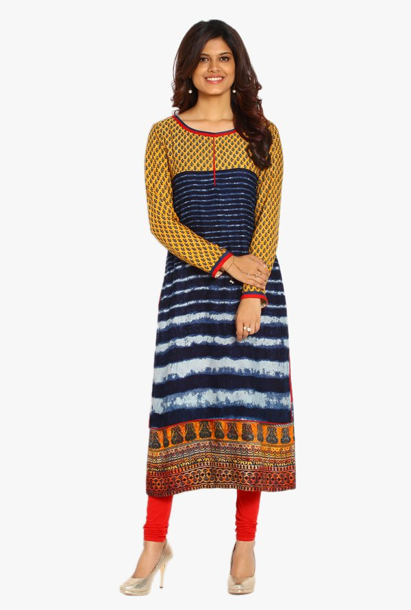 Soch Navy & Red Printed Rayon Kurta Suit Set