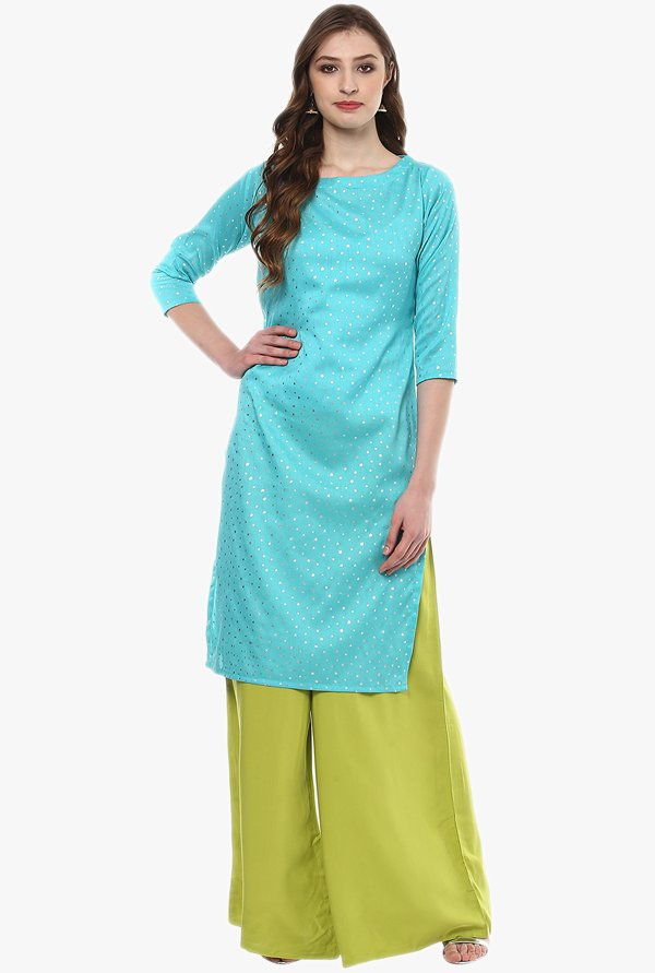 Ziyaa Blue Printed Poly Silk Kurta