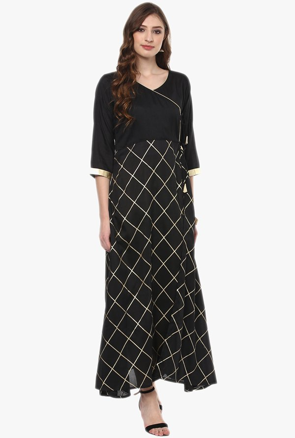 Ziyaa Black Checks Poly Silk Kurta