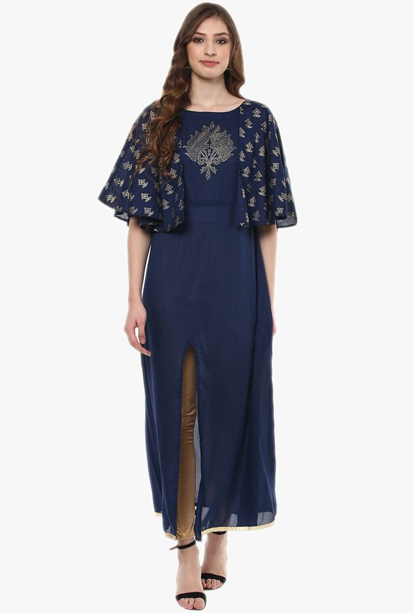 Ziyaa Navy Printed Poly Silk Cape Kurta