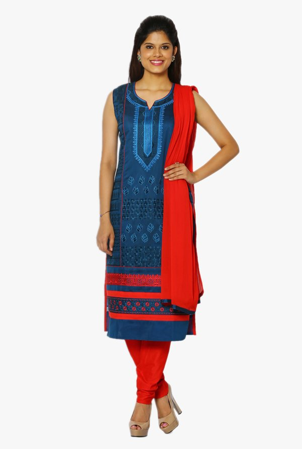 Soch Navy & Red Embroidered Chanderi Straight Suit Set