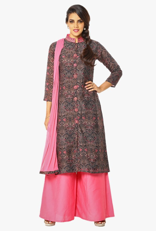 Soch Brown & Pink Printed Cotton Palazzo Suit Set