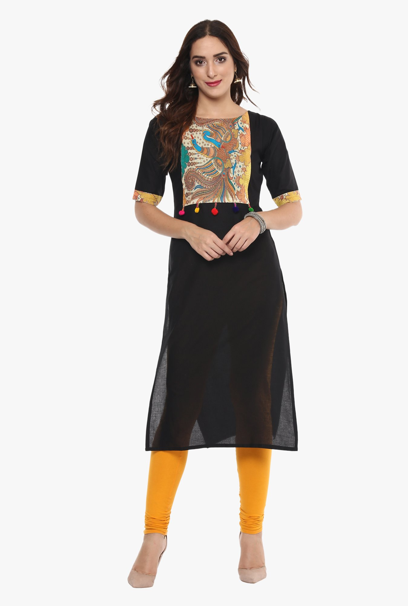 Ahalyaa Black Printed Cotton Straight Kurta