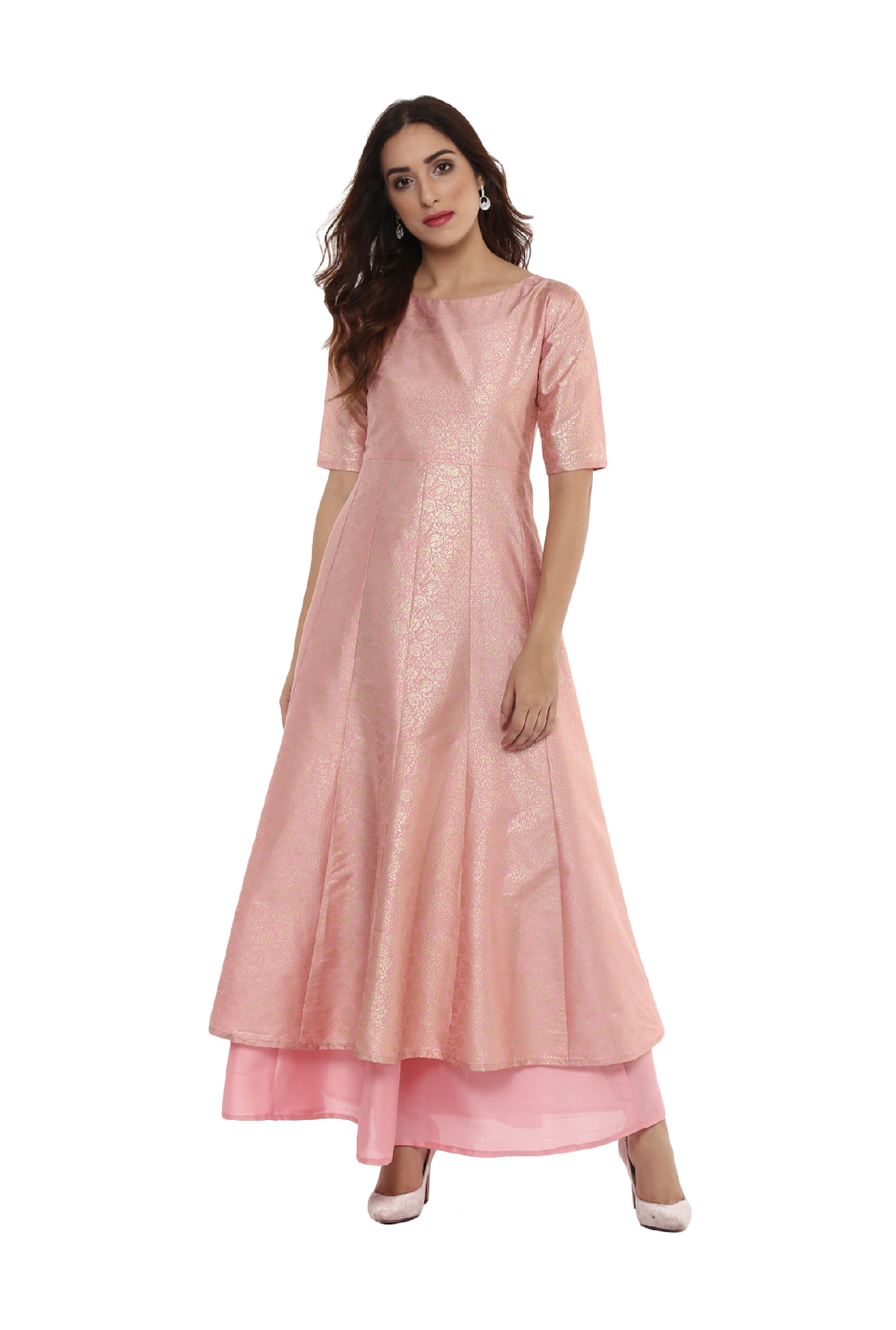 Ahalyaa Light Pink Printed Poly Silk Anarkali Kurta