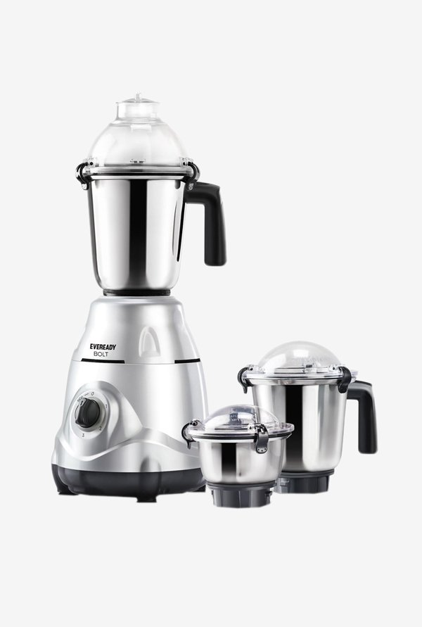 Eveready Bolt 750 W 3 Jars Mixer Grinder (Silver)