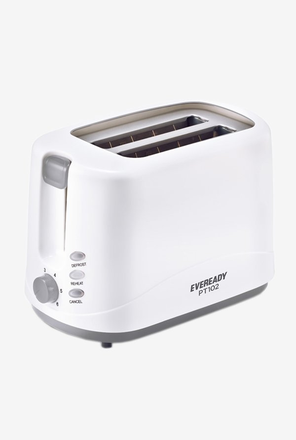 Eveready PT102 2 Slice 750 W Pop Up Toaster (White/Grey)