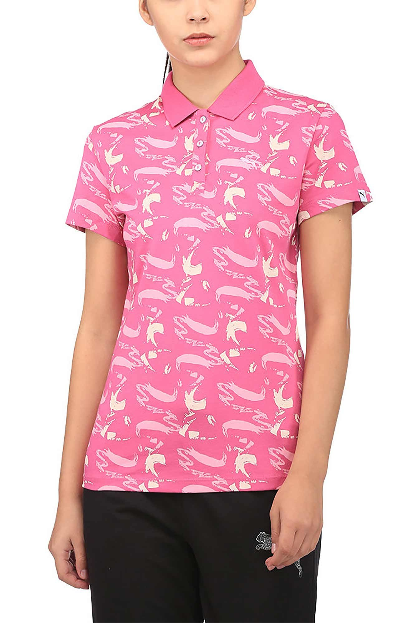 3c280b69ed7 Buy Puma Pink Printed Aop Polo T-Shirt for Women   Tata CLiQ