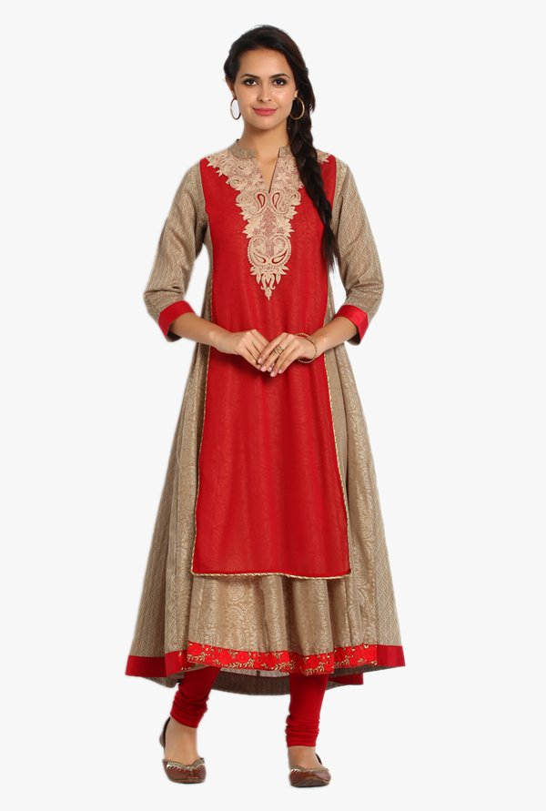 Soch Beige & Red Printed Chanderi Kurta Set