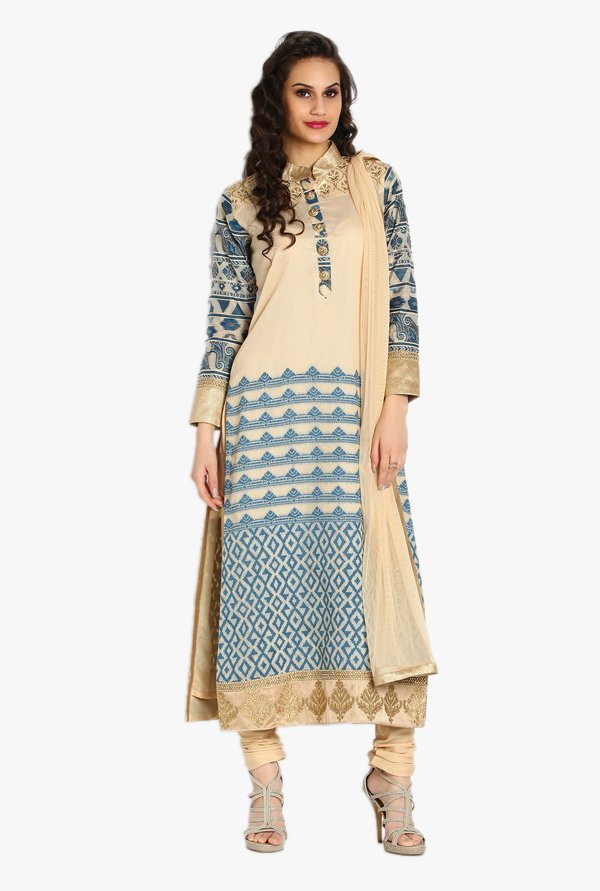 Soch Beige & Blue Embroidered Kota Churidar Suit