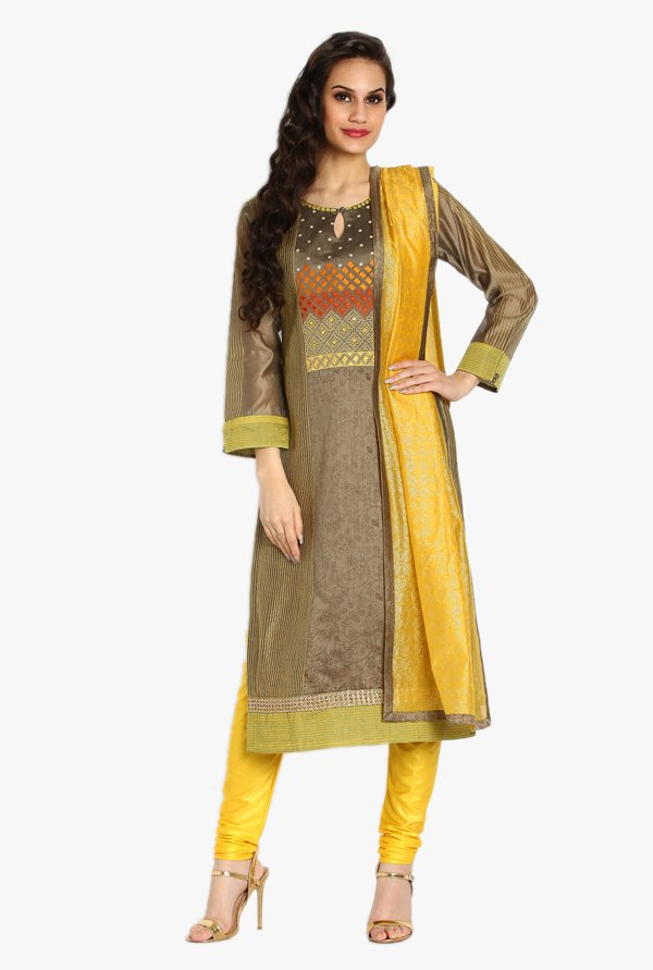 Soch Olive & Yellow Printed Chanderi Churidar Suit