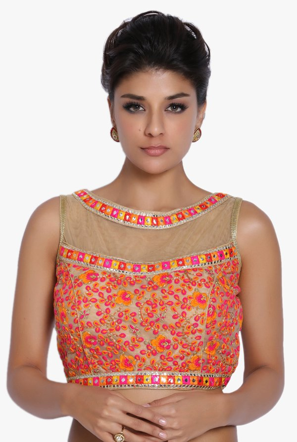 Soch Multicolor Embroidered Net Blouse