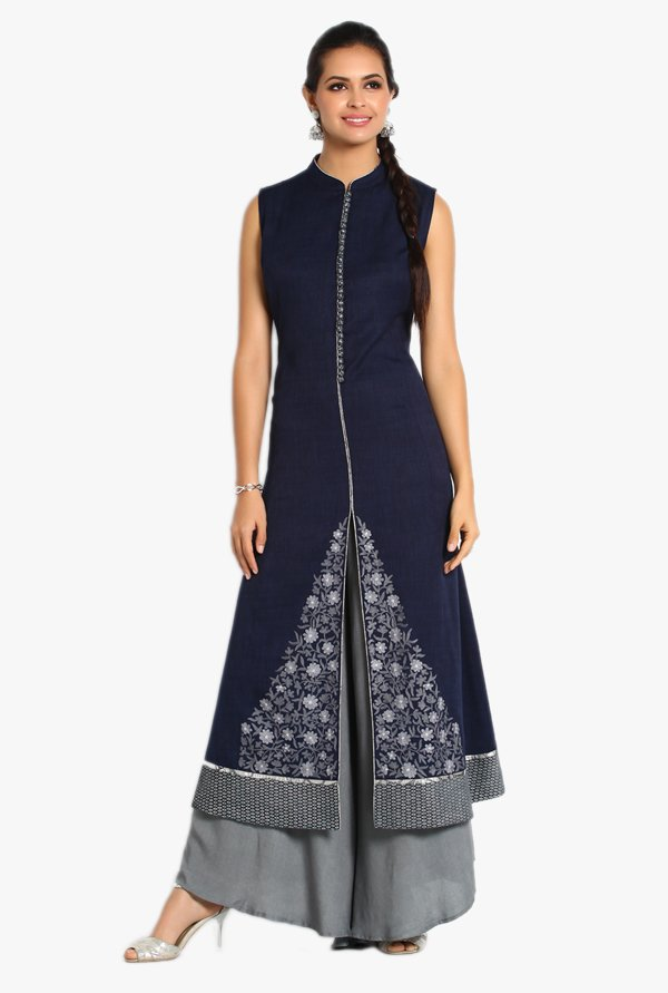 Soch Navy & Grey Cotton Jacquard Kurta With Palazzo