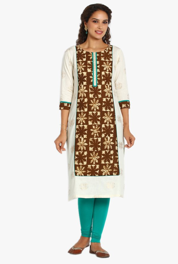 Soch Off White & Brown Printed Khadi Kurta