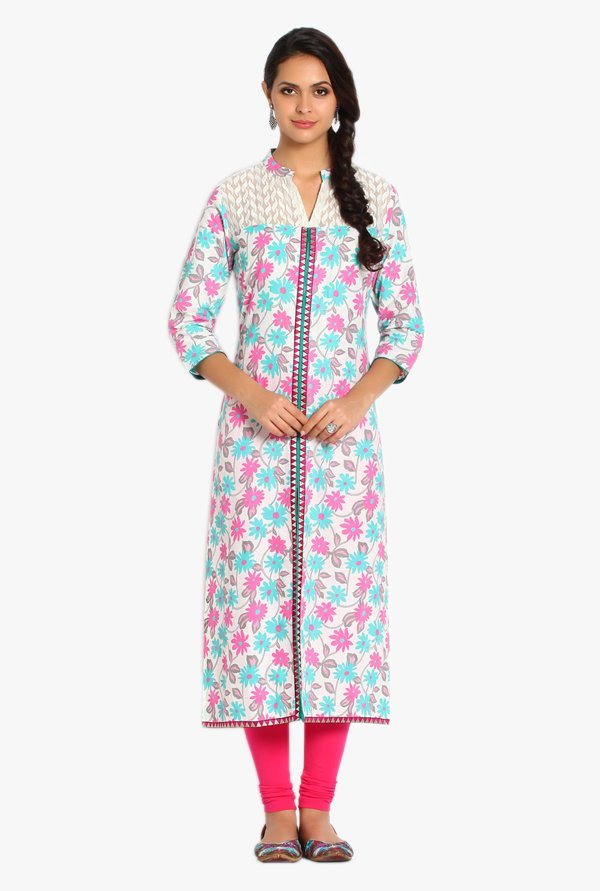Soch Off White Floral Print Cotton Kurta