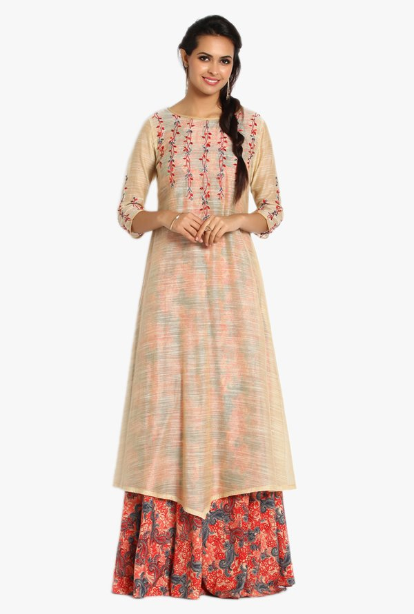 Soch Beige & Peach Printed Chanderi Kurta With Palazzo