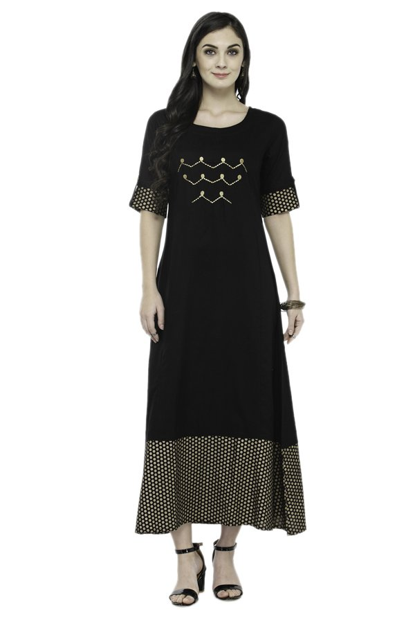 Varanga Black Printed Rayon Dress