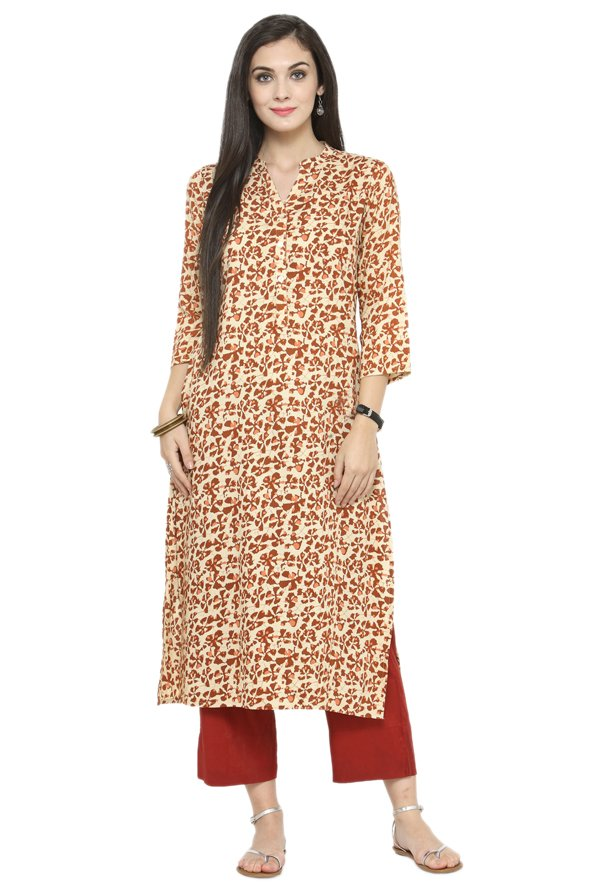 Varanga Cream Printed Cotton Kurta