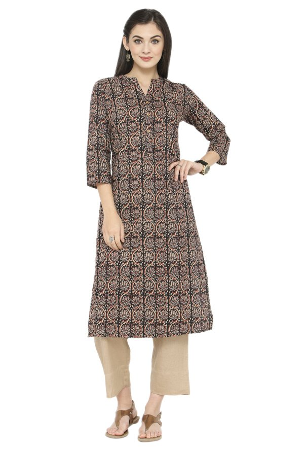 Varanga Brown & Beige Printed Cotton Kurta With Pants