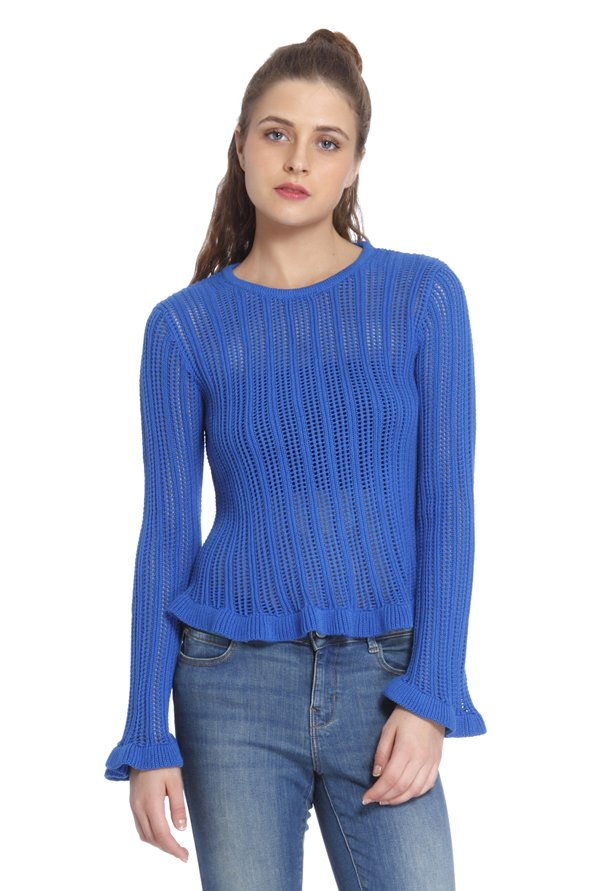 Only Blue Crochet Pullover