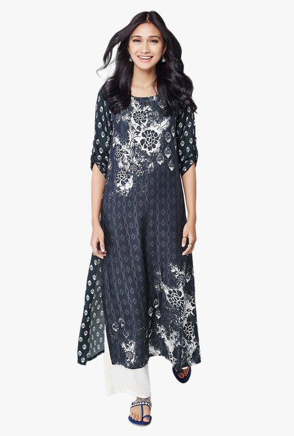 Global Desi Dark Grey Printed Viscose Kurta
