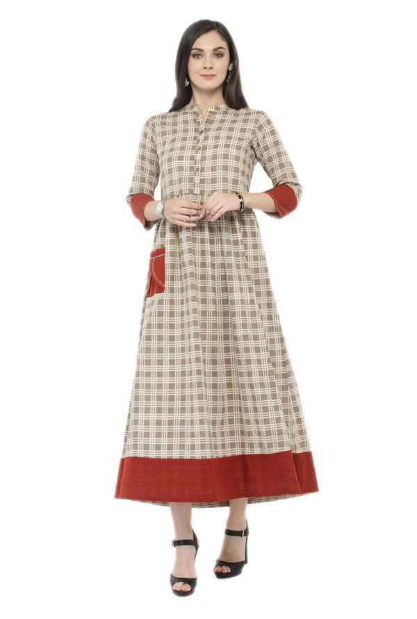 Varanga Grey Checks Polyester Kurta