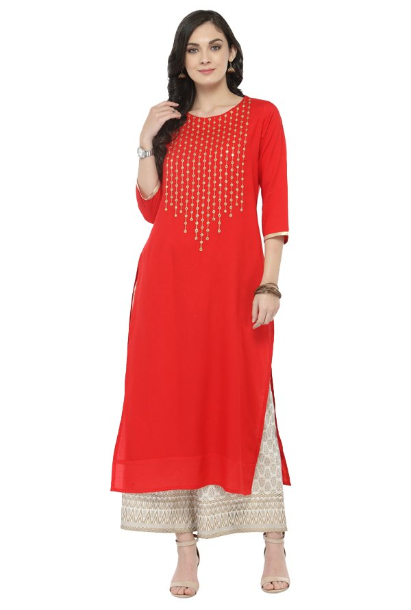 Varanga Red & White Viscose Rayon Kurta With Palazzo