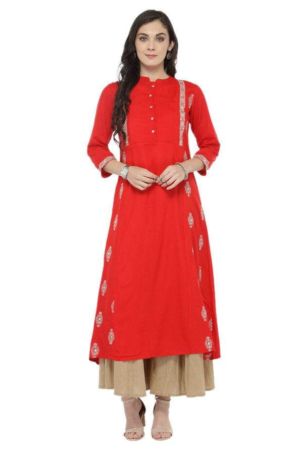 Varanga Red & Beige Viscose Rayon Kurta With Palazzo