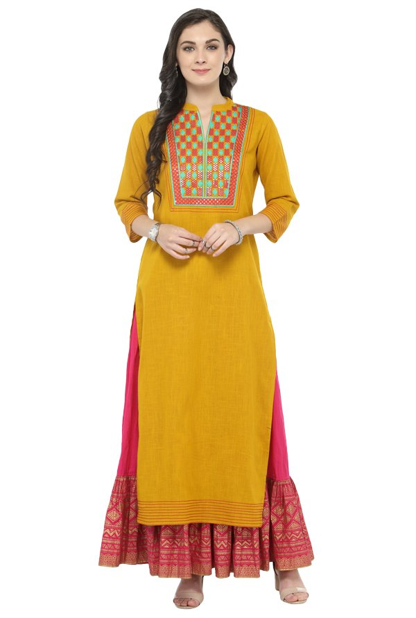 Varanga Mustard & Pink Cotton Kurta With Skirt