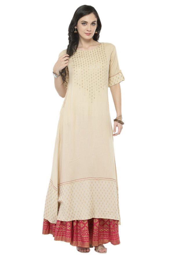 Varanga Off White & Pink Viscose Rayon Kurta With Skirt
