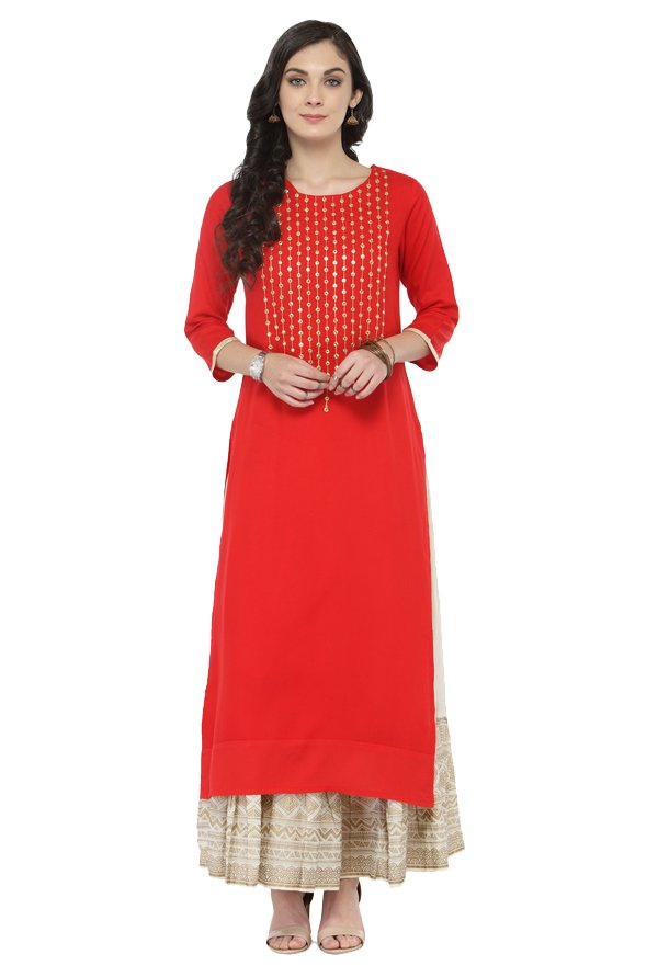 Varanga Red Embellished Viscose & Rayon Kurta