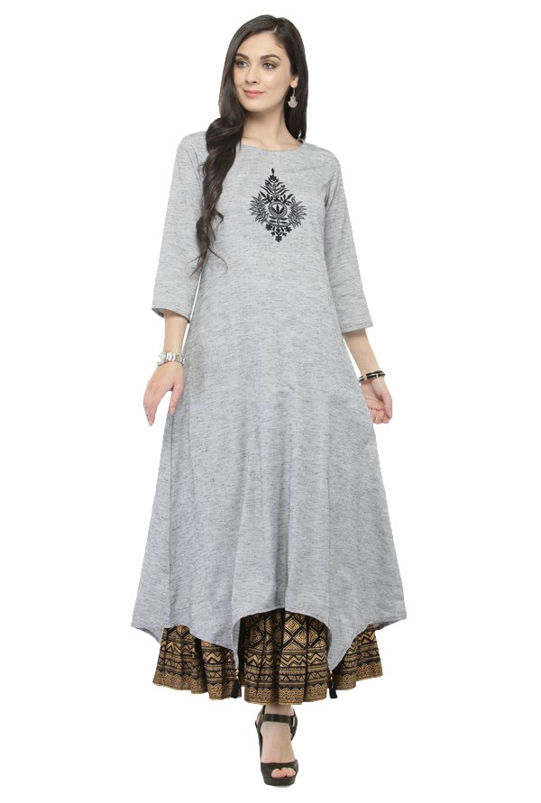 Varanga Grey & Black Cotton Kurta With Skirt