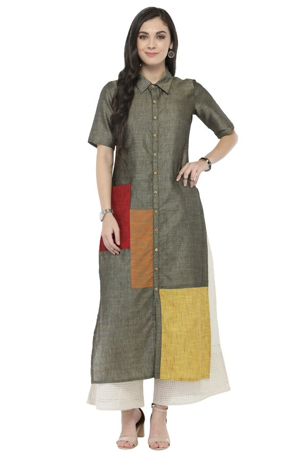 Varanga Grey & White Textured Cotton Kurta With Palazzo