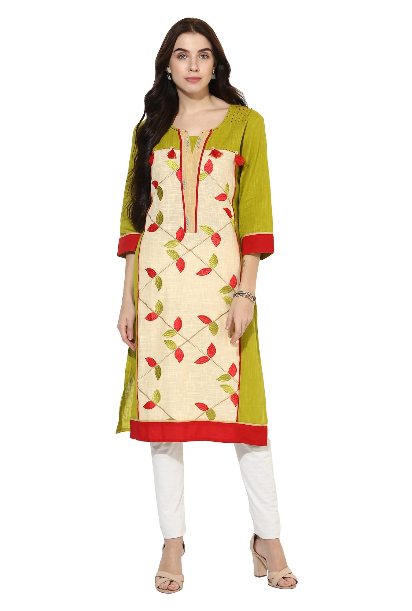 Mytri Lime & Beige Embroidered Cotton Straight Kurta