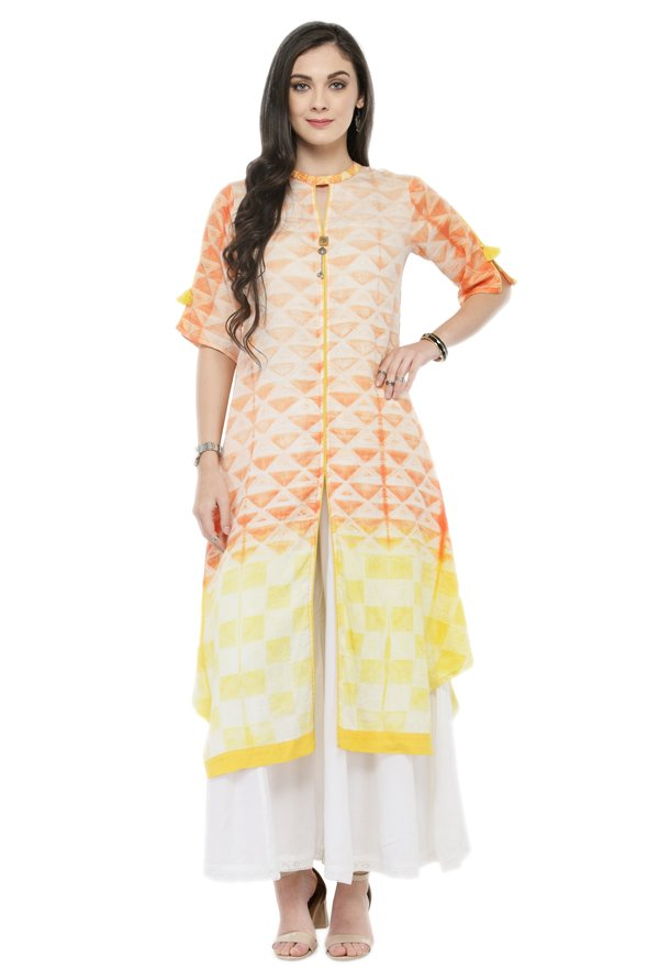 Varanga Orange & White Cotton Blend Kurta With Palazzo
