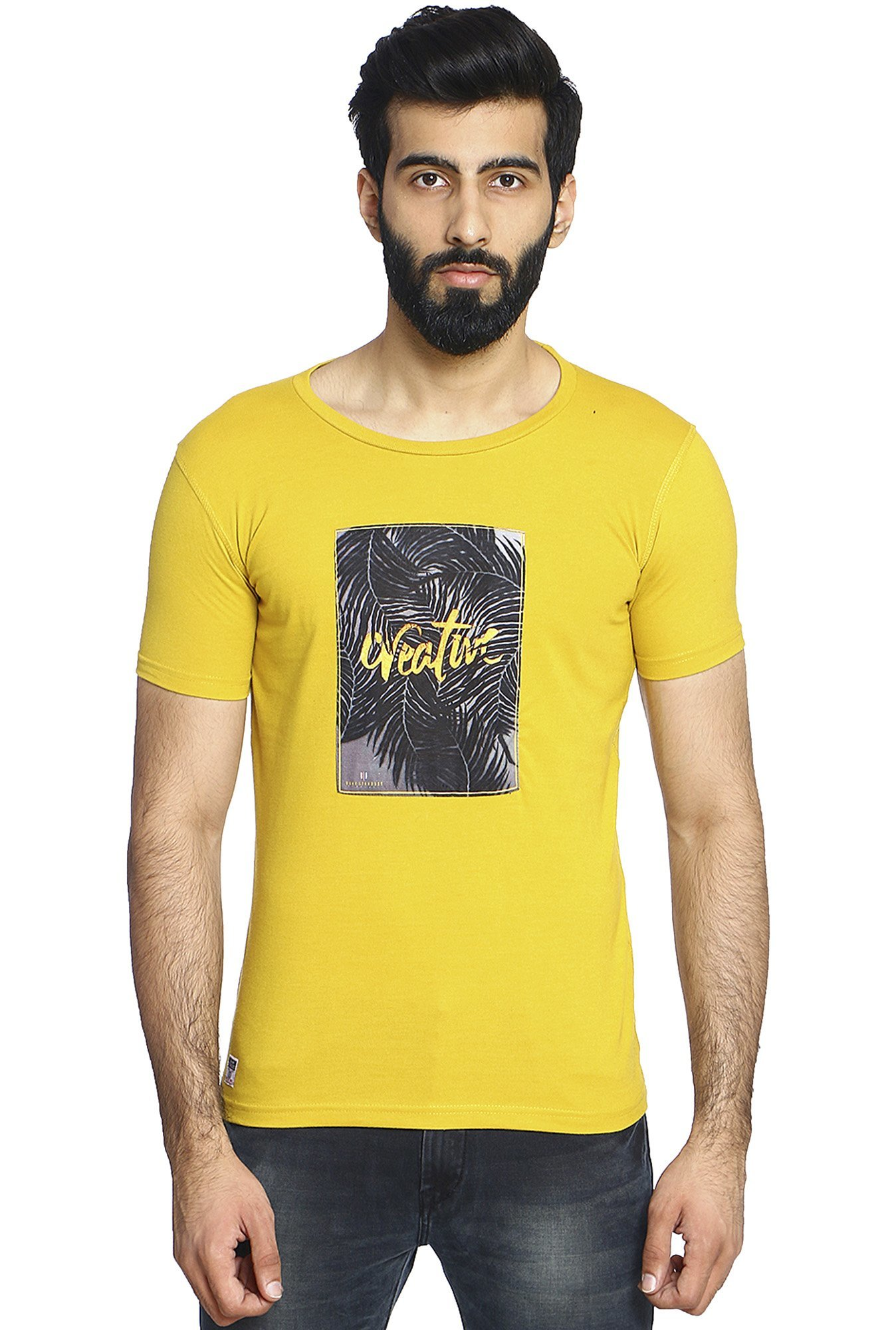 Duke Mustard Printed Round Neck T-Shirt